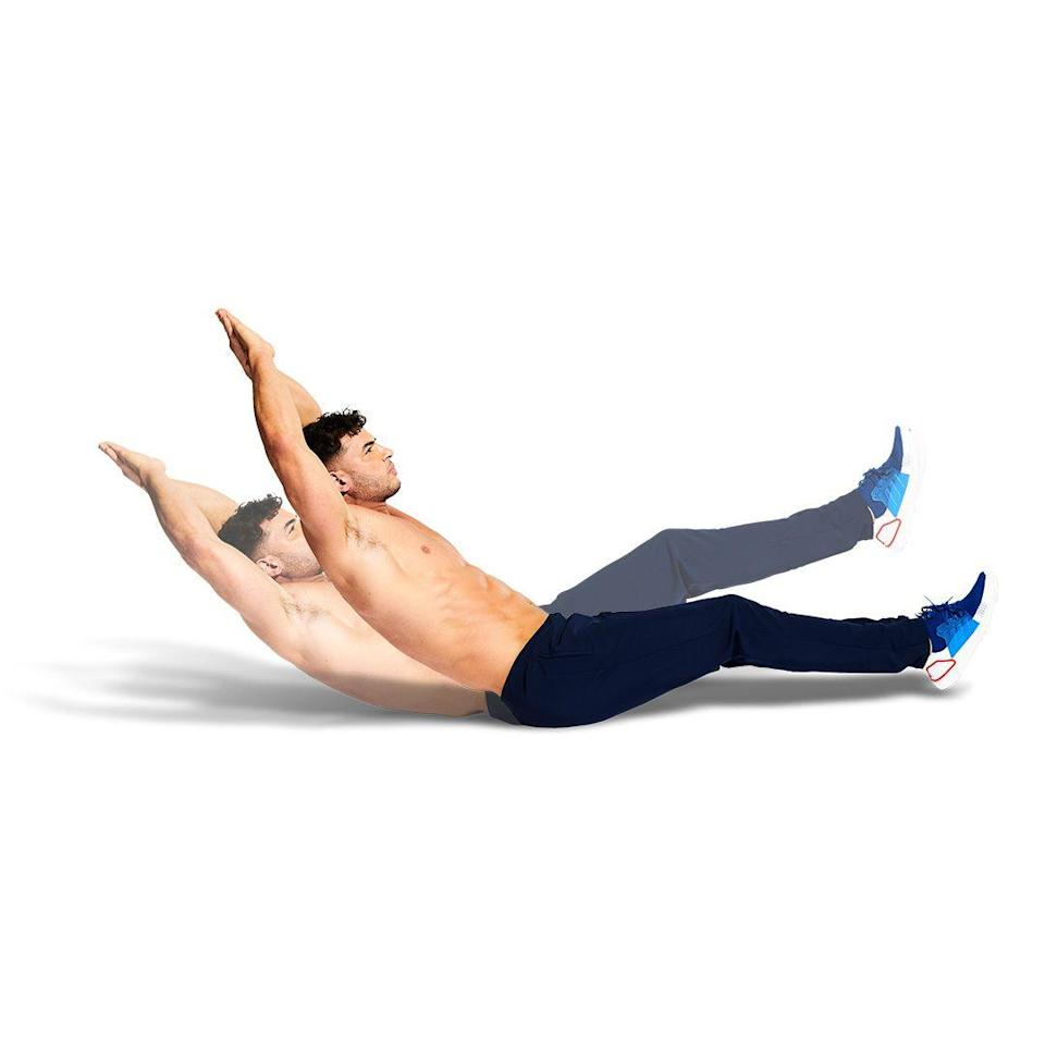 <p>Lie on your back and lift your feet and shoulders off the floor, with your arms behind you. Contract your core and push your lower back into the floor and rock forward and back. You'll be blowing hard after the burpees, so keep your breathing controlled, then prepare for round two.</p>