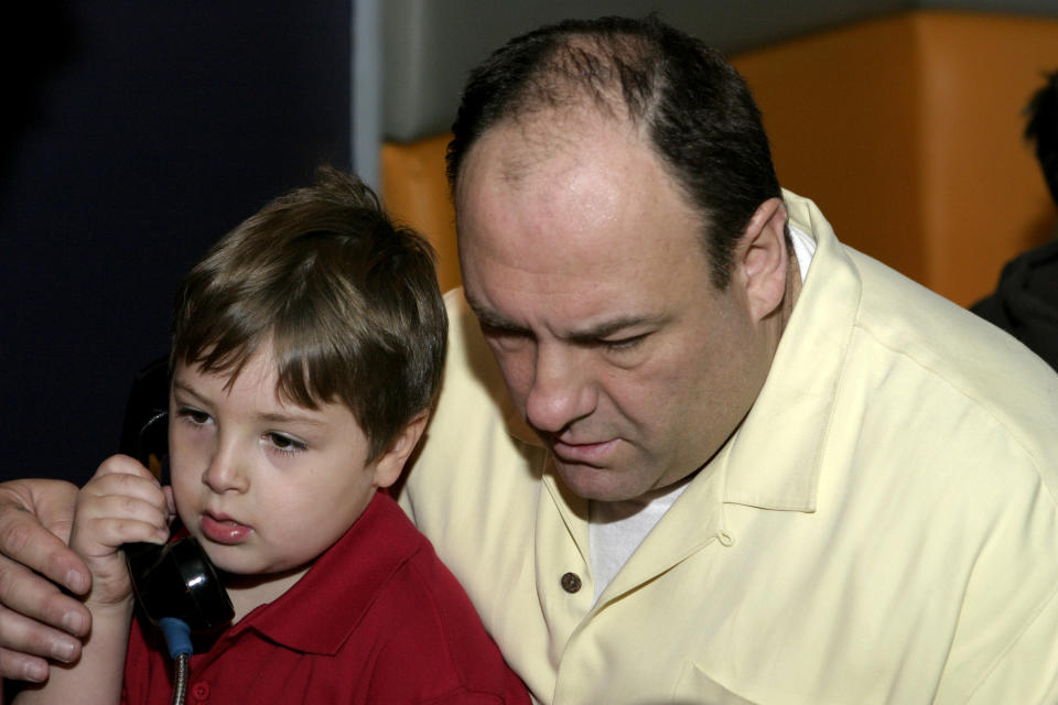 NEW YORK - MAY 07:  (EXCLUSIVE COVERAGE, SPECIAL RATES APPLY) Actor James Gandolfini sits with Michael Gandolfini during his 6th birthday party at Remote Bar on May 7, 2005 in New York City.  (Photo by Brian Ach/Getty Images)