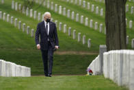 President Joe Biden visits Section 60 of Arlington National Cemetery in Arlington, Va., on Wednesday, April 14, 2021. Biden announced the withdrawal of the remainder of U.S. troops from Afghanistan by Sept. 11, 2021, the 20th anniversary of the terrorist attacks on America. (AP Photo/Andrew Harnik)