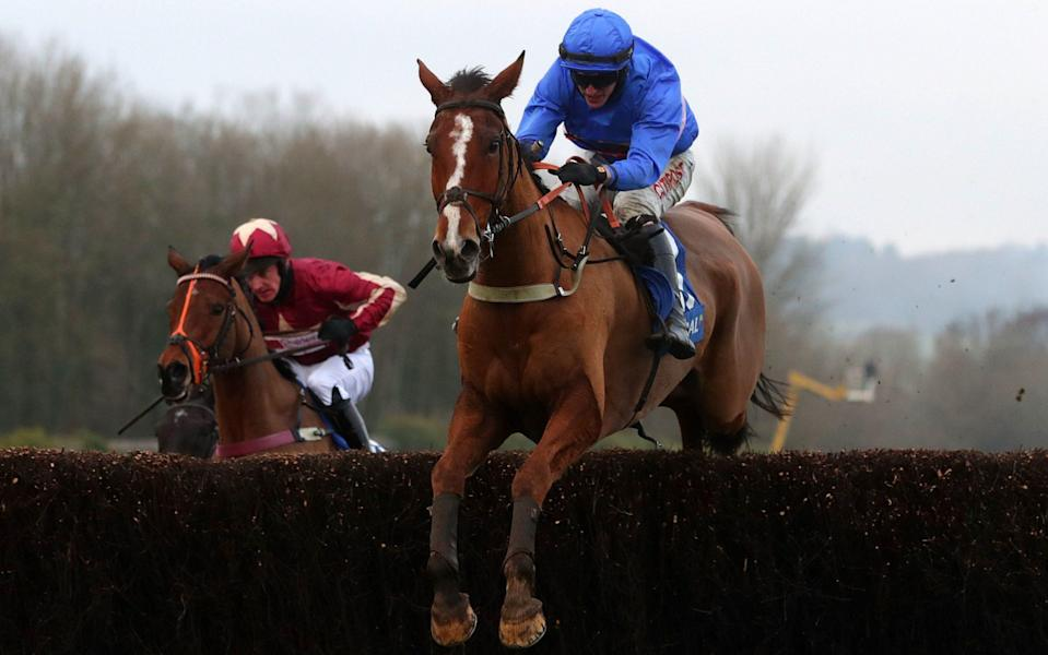 Adam Wedge rides Secret Reprieve to victory in the Welsh Grand national  - PA