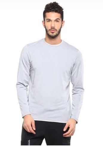 "<a href=""https://fave.co/3de3f1R"">BUY HERE </a>Round-neck light grey full sleeve t-shirt, by VETTORIO FRATINI from Shoppers' Stop, for Rs. 449"