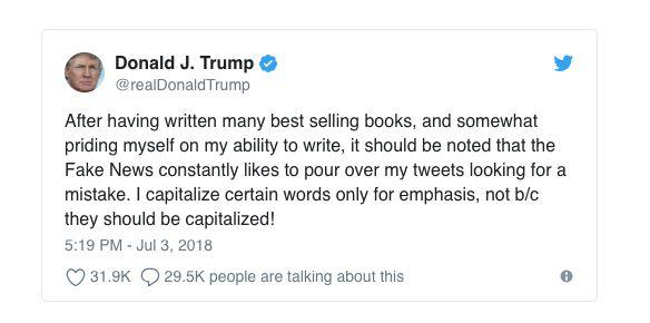 A screenshot of Trump's tweet before the message was deleted and retweeted without the typo. (Photo: Donald J. Trump/Twitter)