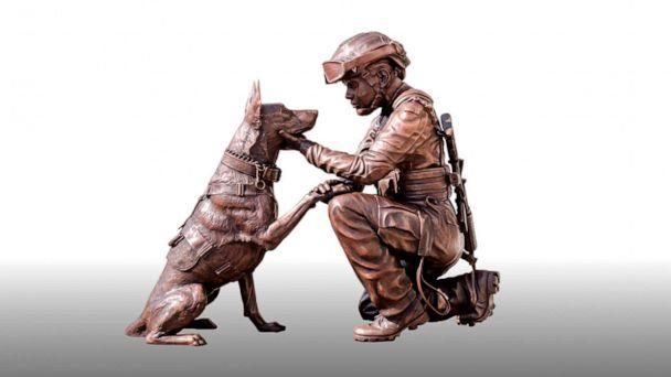 PHOTO: This undated photo provided by Bahary Studios shows a sculpture called 'The Pledge.' The new sculpture honoring military women and military working dogs is being unveiled outside Arlington National Cemetery. (Luke Homay/Bahary Studios via AP)