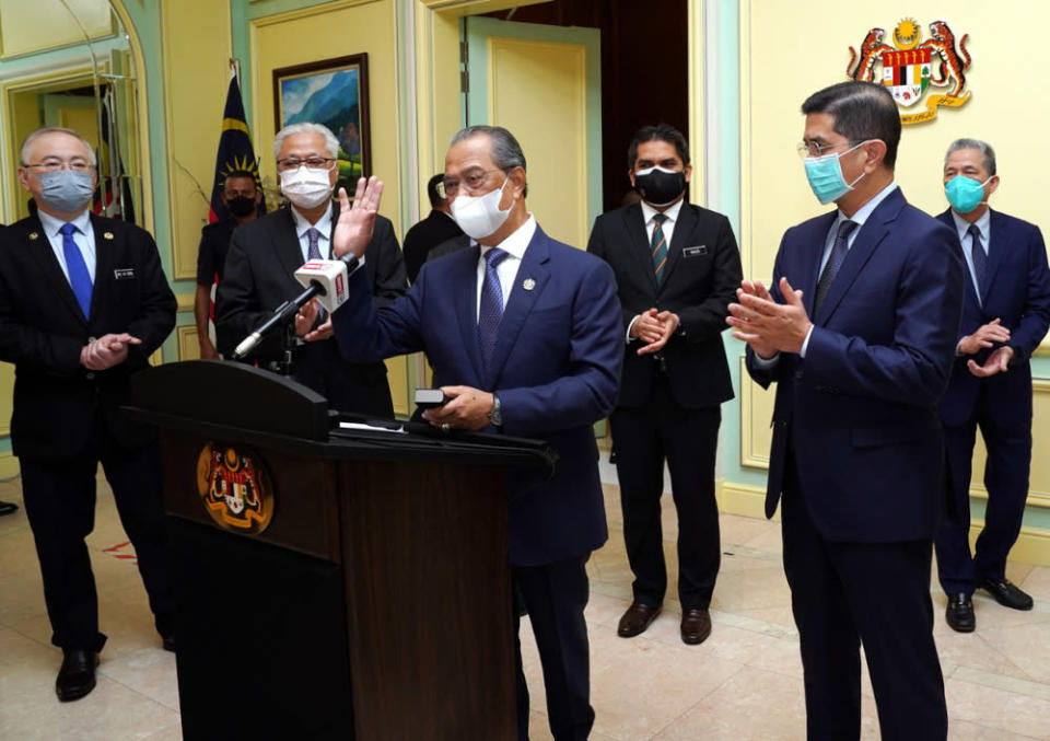 Prime Minister Tan Sri Muhyiddin Yassin after a special address which was broadcast live on several local television stations, August 4, 2021. ― Bernama pic
