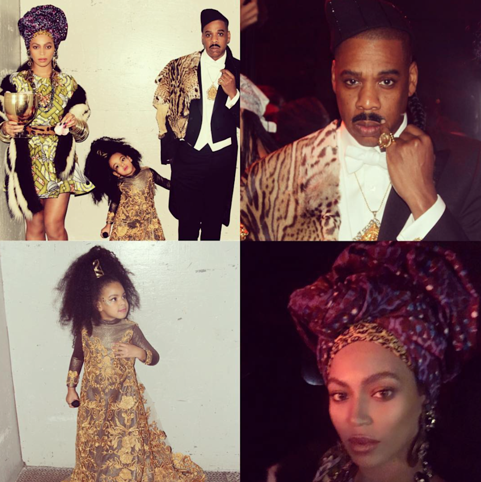 <p>Fans of Eddie Murphy's 1988 comedy <i>Coming to America</i> couldn't help but laugh at the Carters' ode to the movie about an African prince who bails on an arranged marriage at the last minute for life in the States. Blue Ivy got in on the action by dressing as the jilted bride. (Photo: Instagram/Beyonce) </p>