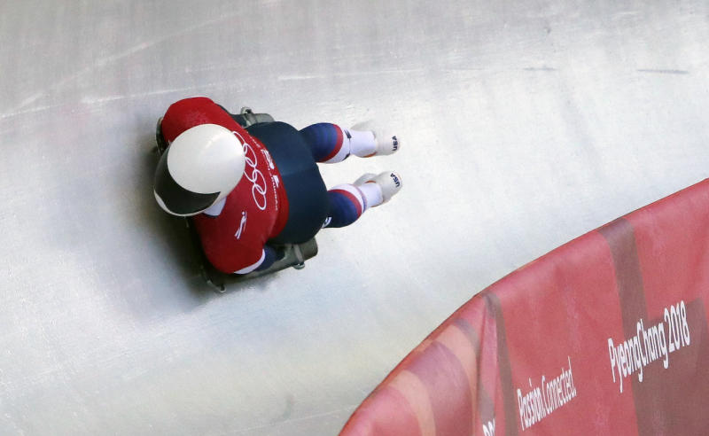 Matt Antoine of United States slides down the track during a training run for the men's skeleton at the 2018 Winter Olympics in PyeongChang, South Korea, Tuesday, Feb. 13, 2018. (AP Photo/Andy Wong)
