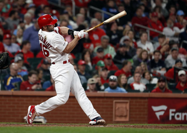 St. Louis Cardinals' Paul Goldschmidt follows through on an RBI-single during the fifth inning of a baseball game against the Milwaukee Brewers, Tuesday, April 23, 2019, in St. Louis. (AP Photo/Jeff Roberson)