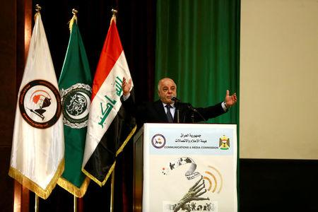 FILE PHOTO: Iraq's Prime Minister Haider al-Abadi speaks during a ceremony of Baghdad is the Capital of Arab Media, in Baghdad