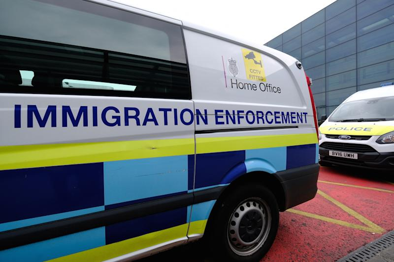 A Home Office Immigration Enforcement van is pictured outside Heathrow Terminal 3 in London, United Kingdom, on February 21, 2018. (Photo by Alex Milan Tracy/Sipa USA)