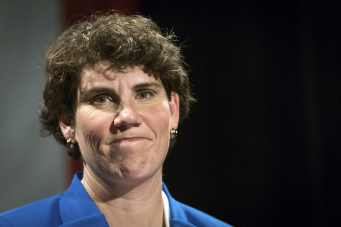 FILE - In this Nov. 6, 2018, file photo, Amy McGrath speaks to supporters in Richmond, Ky. McGrath overcame a bumpier-than-expected Kentucky primary to win the Democratic U.S. Senate nomination Tuesday, June 30, 2020 fending off progressive Charles Booker to set up a bruising, big-spending showdown with Republican Senate Majority Leader Mitch McConnell. (AP Photo/Bryan Woolston, File)