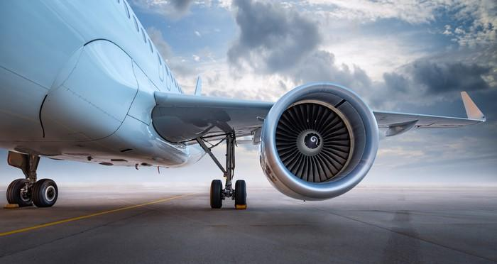 An airplane wing and engine
