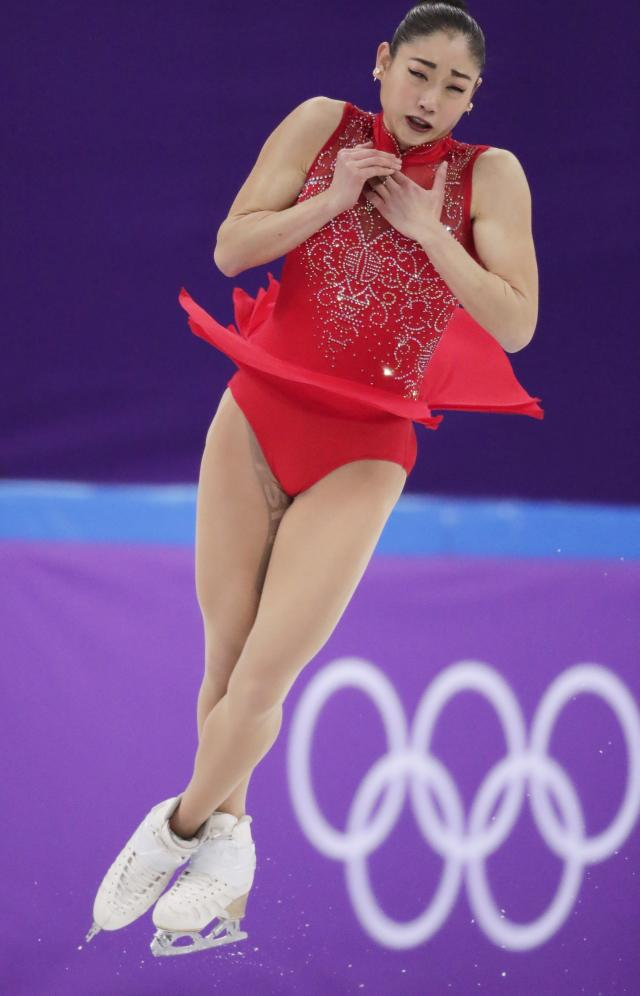 Mirai Nagasu of the United States performs in the ladies single skating free skating in the Gangneung Ice Arena at the 2018 Winter Olympics in Gangneung, South Korea, Monday, Feb. 12, 2018. (AP Photo/Julie Jacobson)