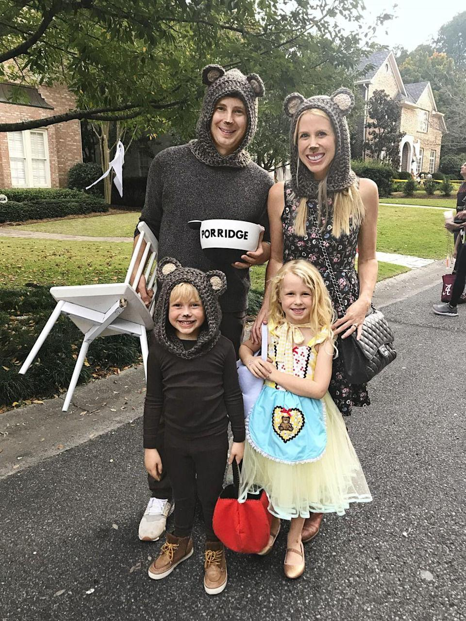 """<p><em>Country Living</em> Editor-in-Chief Rachel Hardage Barrett dressed her family up as the titular characters from Goldilocks and the Three Bears, and the result was <em>beyond</em> adorable. A clearly-labeled bowl of porridge is key!</p><p><a class=""""link rapid-noclick-resp"""" href=""""https://www.amazon.com/RARITY-US-Toddlers-Winter-Beanie-Coffee/dp/B07JJHWZHG?tag=syn-yahoo-20&ascsubtag=%5Bartid%7C10050.g.29074815%5Bsrc%7Cyahoo-us"""" rel=""""nofollow noopener"""" target=""""_blank"""" data-ylk=""""slk:SHOP BEAR HATS"""">SHOP BEAR HATS</a></p>"""