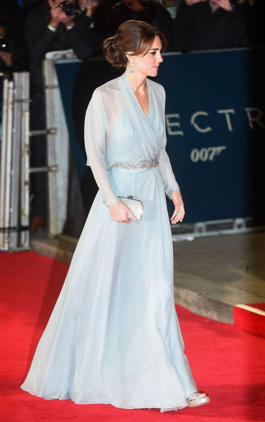 <p>Kate Middleton rivaled the Disney princess when she attended the<em> Spectre </em>premiere in a long-sleeve chiffon Jenny Packham gown. The royal even threw her brunette hair up into a chignon a lá Cinderella. </p>