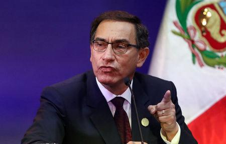 Peru's President Martin Vizcarra speaks at a press conference at the end of the VIII Summit of the Americas in Lima