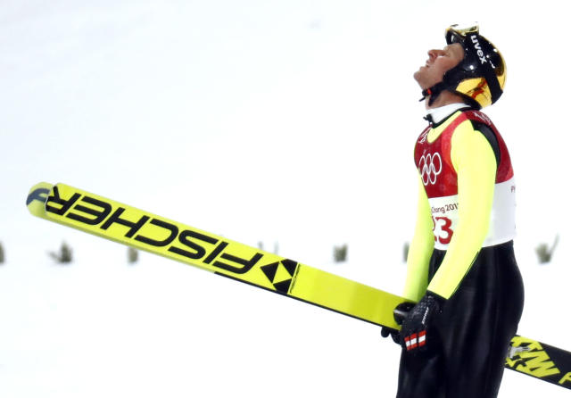 Nordic Combined Events - Pyeongchang 2018 Winter Olympics - Men's Individual Gundersen Large Hill Competition - Alpensia Ski Jumping Centre - Pyeongchang, South Korea – February 20, 2018 - Bernhard Gruber of Austria reacts after crashing. REUTERS/Kai Pfaffenbach