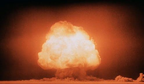 """<span class=""""caption"""">The heat and pressure generated by a nuclear explosion can produce unusual chemical curiosities. </span> <span class=""""attribution""""><a class=""""link rapid-noclick-resp"""" href=""""https://upload.wikimedia.org/wikipedia/commons/f/fc/Trinity_Detonation_T%26B.jpg"""" rel=""""nofollow noopener"""" target=""""_blank"""" data-ylk=""""slk:United States Department of Energy/wikimedia"""">United States Department of Energy/wikimedia</a></span>"""