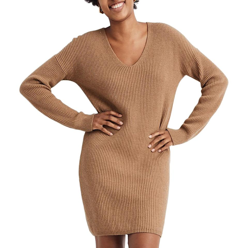 """<p>Take note from campers and skiers who know the power of merino wool. The knit is very warm, not to mention moisture-wicking and heat-regulating. This relaxed dress is versatile, easy to wear from fall to spring. Just slip on some opaque black tights when the temperature drops.</p> <p><strong>To buy: </strong>$80; <a href=""""https://click.linksynergy.com/deeplink?id=93xLBvPhAeE&mid=1237&murl=https%3A%2F%2Fshop.nordstrom.com%2Fs%2Fmadewell-relaxed-long-sleeve-sweater-dress%2F5436690%2Ffull&u1=RS%2C8ChicWinterEssentialsThatWillKeepYouWarm%25E2%2580%2594WithouttheBulk%2Ceisenhat%2CCLO%2CIMA%2C690182%2C202001%2CI"""" target=""""_blank"""">nordstrom.com</a>.</p>"""