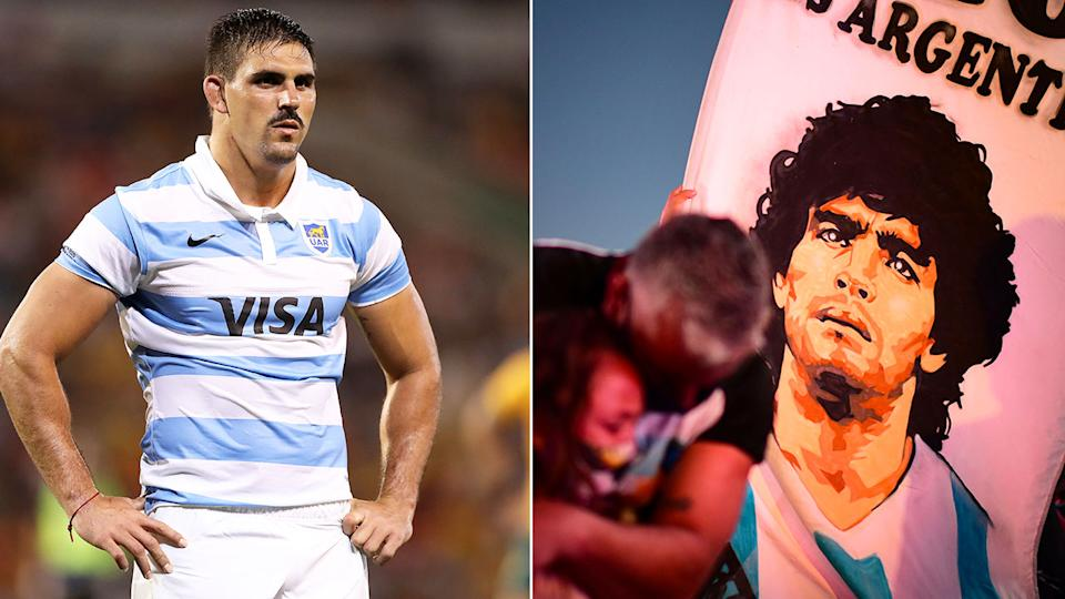 Seen here, Pablo Matera in action for Argentina and tributes to Maradona in his homeland.