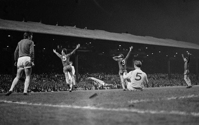 Chelsea celebrate David Webb's extra-time winner in the 1970 FA Cup final replay at Old Trafford