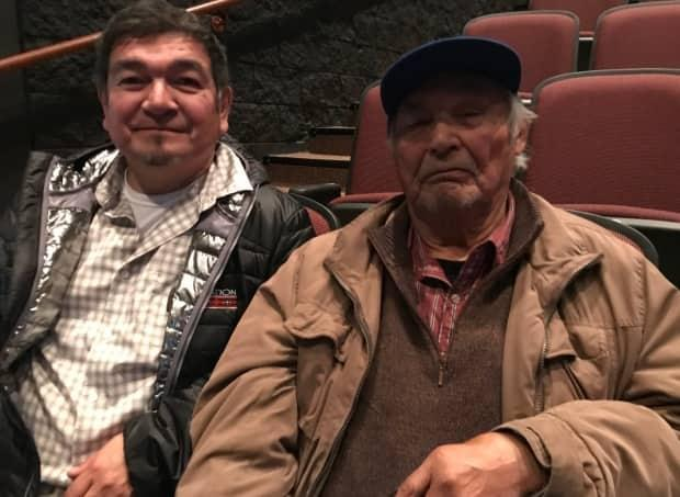 Innu Nation elder Sebastien Penunsi and former MP Peter Penashue at the Muskrat Falls inquiry, where Penunsi gave an oral history of the Innu's links to Churchill River and Lake Melville. (Terry Roberts/CBC - image credit)