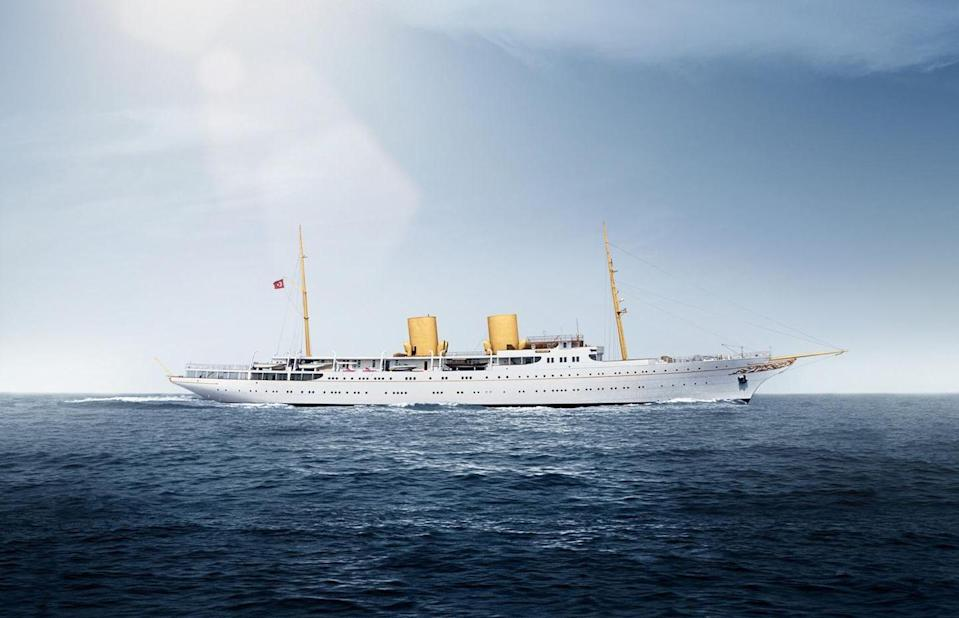 <p><em>Savarona</em> is the oldest yacht on this list, as it was originally launched in 1931 and refitted in 1999. The 446-foot yacht boasts interiors by Donald Starkey, room to sleep 34 guests and 48 crew, and luxe amenities, like ample spa facilities, a spacious study, oversize media room, and plenty of fabulous deck space for lounging.</p>