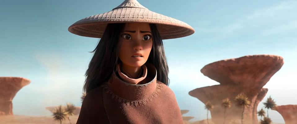 """<p>Kelly Marie Tran, Awkwafina, Gemma Chan, Daniel Dae Kim, Sandra Oh, Benedict Wong, and more incredible stars lend their voices to this animated fantasy adventure that <a href=""""https://www.glamour.com/gallery/best-family-movies?mbid=synd_yahoo_rss"""" rel=""""nofollow noopener"""" target=""""_blank"""" data-ylk=""""slk:appeals to all ages"""" class=""""link rapid-noclick-resp"""">appeals to all ages</a>. </p> <p><a href=""""https://www.disneyplus.com/movies/raya-and-the-last-dragon/6dyengbx3iYK"""" rel=""""nofollow noopener"""" target=""""_blank"""" data-ylk=""""slk:Watch on Disney Plus"""" class=""""link rapid-noclick-resp""""><em>Watch on Disney Plus</em></a></p>"""