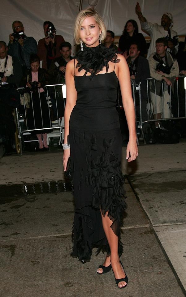<p>Ivanka hit the Gala in 2005 in all black everything, rocking a bob and some serious neckwear.</p>