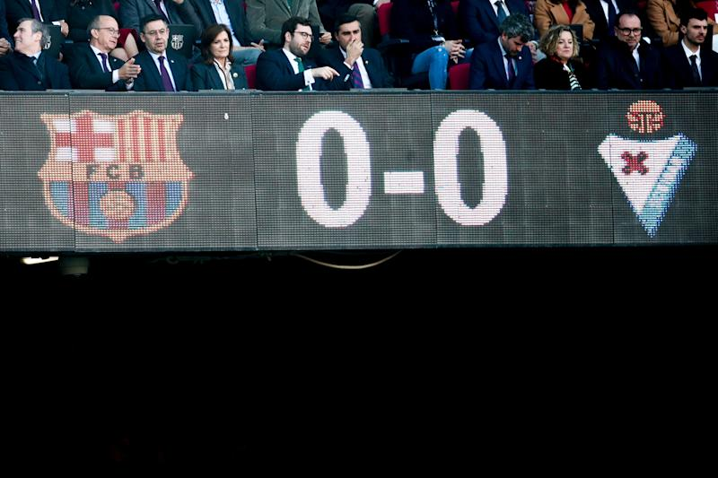 BARCELONA, SPAIN - FEBRUARY 22: (L-R) president Josep Maria Bartomeu of FC Barcelona, president Amaia Gorostiza Telleria of SD Eibar during the La Liga Santander match between FC Barcelona v Eibar at the Camp Nou on February 22, 2020 in Barcelona Spain (Photo by David S. Bustamante/Soccrates/Getty Images)