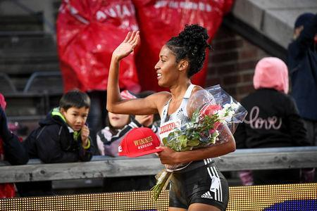 Athletics - IAAF Diamond League meeting - Women's 800m race - Stockholm Olympic Stadium, Stockholm, Sweden - May 30, 2019. Ajee Wilson of USA reacts after winning. Fredrik Sandberg /TT News Agency via REUTERS