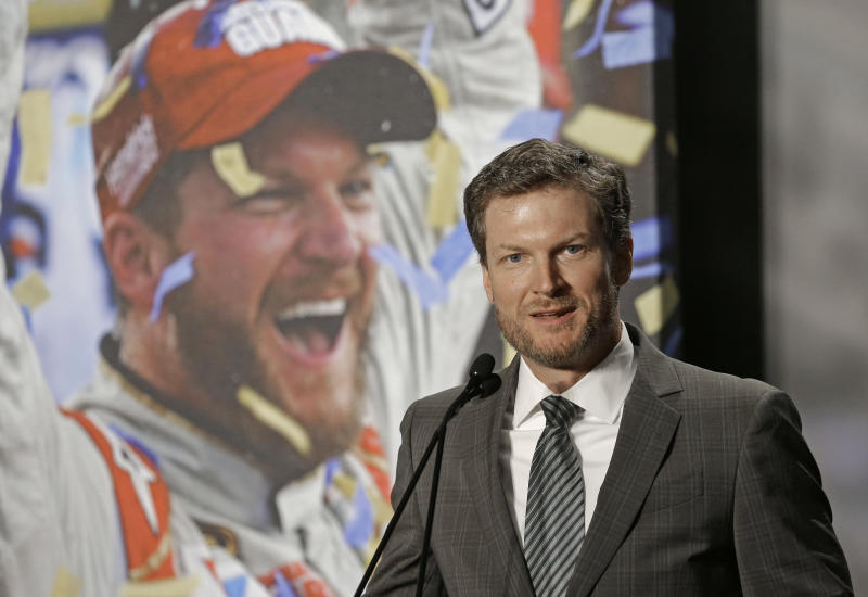 Dale Earnhardt Jr. speaks during a news conference at Hendrick Motorsports in Concord, N.C., Tuesday, April 25, 2017. Dale Earnhardt Jr. abruptly announced his retirement at the end of the season Tuesday, April 25, 2017, a decision that will cost NASCAR its most popular driver as the series scrambles to rebuild its fan base. (AP Photo/Chuck Burton)