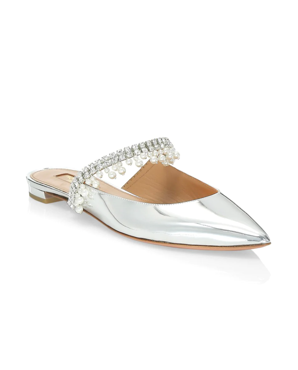 Aquazzura Embellished Mirrored Mules (Photo via Saks Fifth Avenue)