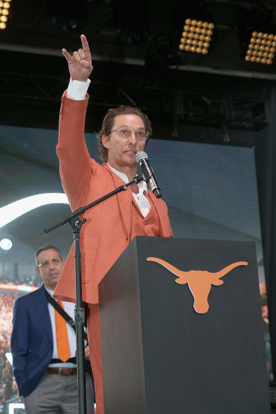 AUSTIN, TEXAS - DECEMBER 03:  University of Texas Minister of Culture Matthew McConaughey attends the groundbreaking ceremony for the new University of Texas event facility, the