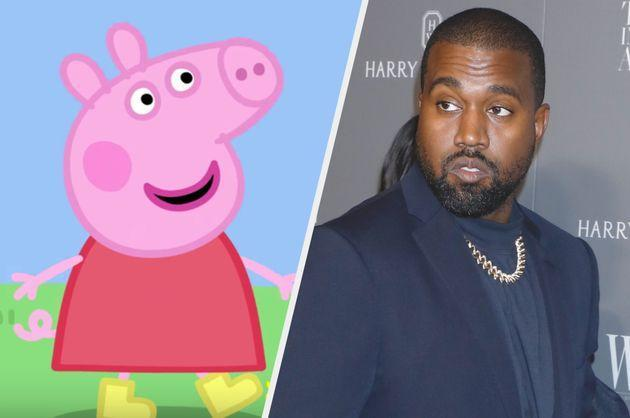 Peppa Pig and Kanye West (Photo: Channel 5/Gregory Pace/Shutterstock)