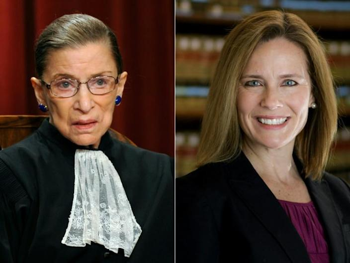 The late US Supreme Court justice and liberal icon Ruth Bader Ginsburg (L) was replaced on the bench by conservative jurist Amy Coney Barrett, President Donald Trump's third nominee to make it onto the high court