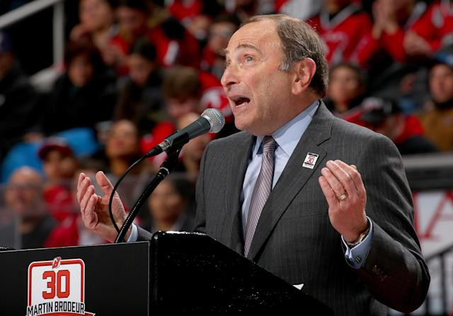 NEWARK, NJ - FEBRUARY 09: NHL commisioner Gary Bettman addresses the fans during a ceremony for former New Jersey Devils goaltender Martin Brodeur as his jersey is retired in a ceremony before the game between the New Jersey Devils and the Edmonton Oilers on 9, 2016 at Prudential Center in Newark, New Jersey. (Photo by Elsa/Getty Images)