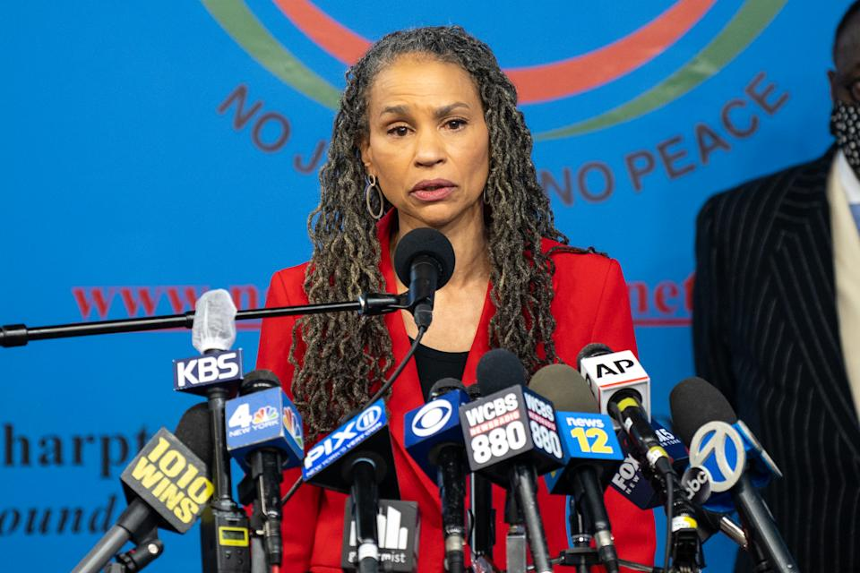 New York City Mayoral candidate Maya Wiley speaks during a press conference at the National Action Network's House of Justice to denounce the rise of attacks against Asian Americans on March 18, 2021 in New York City. (David Dee Delgado/Getty Images)