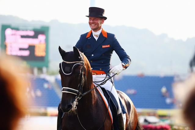 <p>Gal began his riding career at 14 years old as a jumper. Now 46, the Dutch dressage rider has achieved longstanding success at the international level. Gal is in a long-term relationship with teammate Hans Peter Minderhoud, who also made the Dutch Olympic dressage team. (Getty) </p>