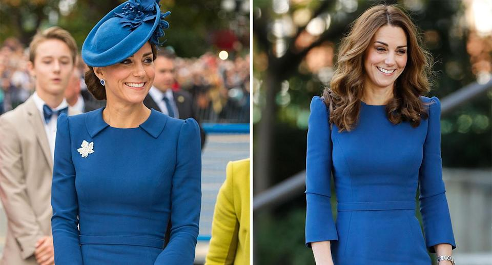 Kate's Jenny Packham dress with a collar in Canada 2016 and without, at the Imperial War Museum in 2018 [Photos: Getty]