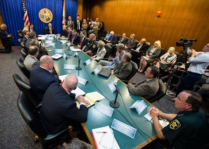 <p>Florida Gov. Rick Scott, far center, holds a statewide roundtable on school safety at the Florida Capital in Tallahassee, Fla., Feb 20, 2018. (Photo: Mark Wallheiser/AP) </p>