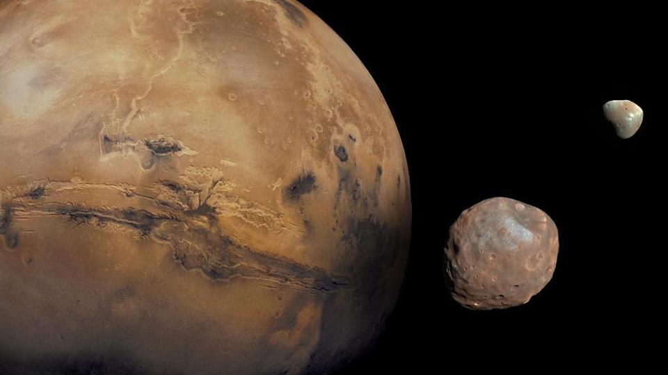 Mars and its two moons, Phobos and Deimos