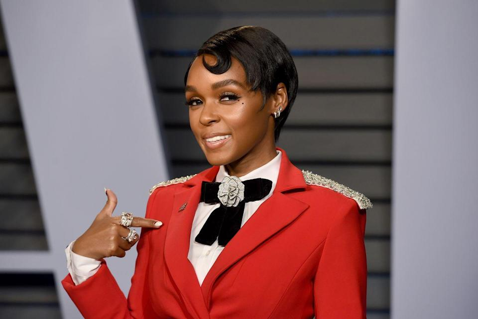 """<p>Update your short black pixie with a single curl like singer <strong>Janelle </strong><strong>Monáe</strong>! <a href=""""https://www.goodhousekeeping.com/beauty-products/g33809765/best-gel-for-curly-hair/"""" rel=""""nofollow noopener"""" target=""""_blank"""" data-ylk=""""slk:Shape the curl"""" class=""""link rapid-noclick-resp"""">Shape the curl </a>by using hair wax or your favorite edge control product.</p>"""