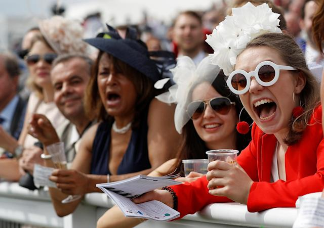 Horse Racing - Derby Festival - Epsom Downs Racecourse, Epsom, Britain - June 1, 2018 Racegoers during the 3.10 Investec Coronation Cup REUTERS/Peter Nicholls