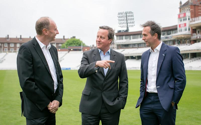 David Cameron speaks with Jonathan Agnew and Michael Vaughan before a fund-raising dinner for the Rwanda Cricket Stadium Foundation at The Oval this week - Lara Arnott Photography