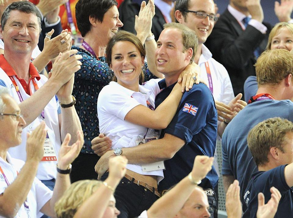 <p>The couple embraced with glee during Day 6 of the London 2012 Olympic Games at the Velodrome and we've never seen them looking so smitten, August 2012.</p>