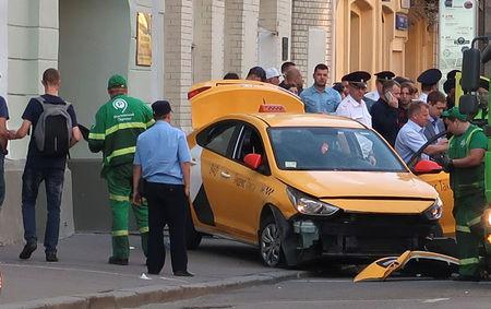 A view shows a damaged taxi, which ran into a crowd of people, in central Moscow, Russia June 16, 2018. REUTERS/Staff