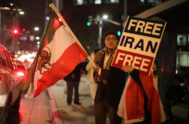 <p>People protest in Los Angeles, Calif., in support of anti-government protesters in Iran, Jan. 3, 2018. (Lucy Nicholson/Reuters) </p>