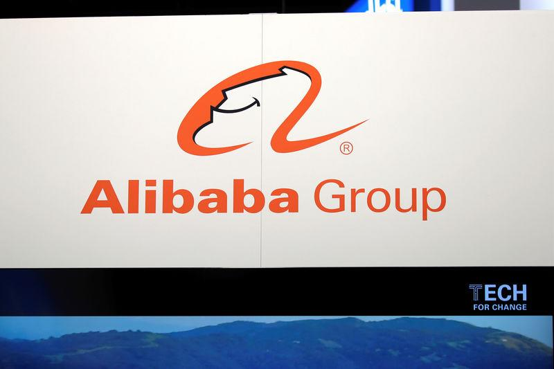Logo of Alibaba group is seen at VivaTech fair in Paris