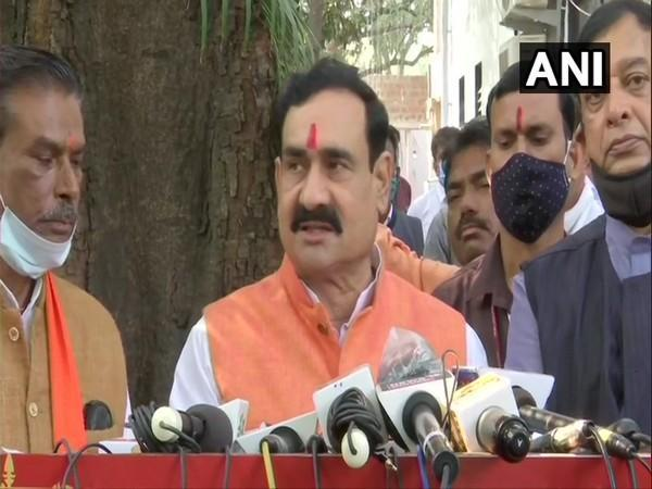 Home Minister Narottam Mishra addressing a press conference in Bhopal on Tuesday.