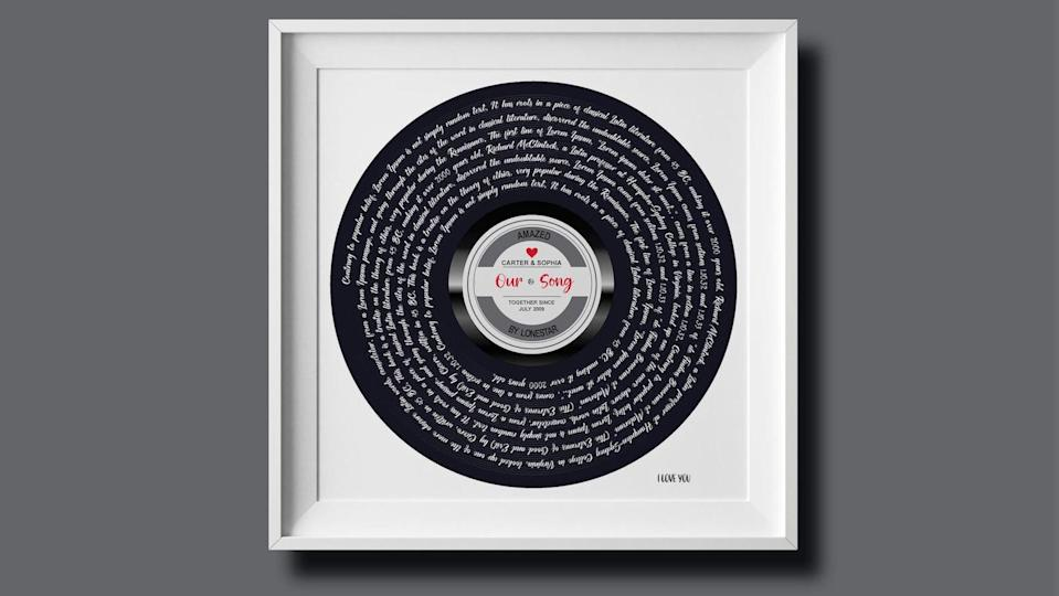 Best gifts under $30: Song lyric print